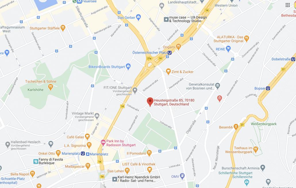 Stuttgart Karte Heusteigenstr. 85, 70180 Stuttgart
