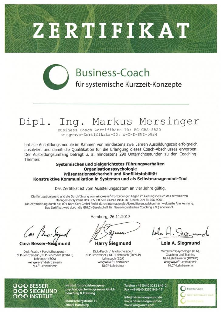 Zertifikat Business Coach