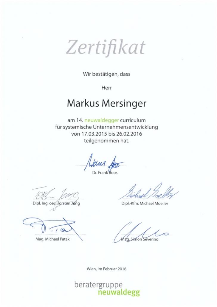 Zertifikat systemische Unternehmensentwicklung