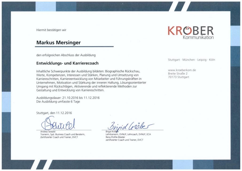 Mersinger Karrierecoach-Zertifikat