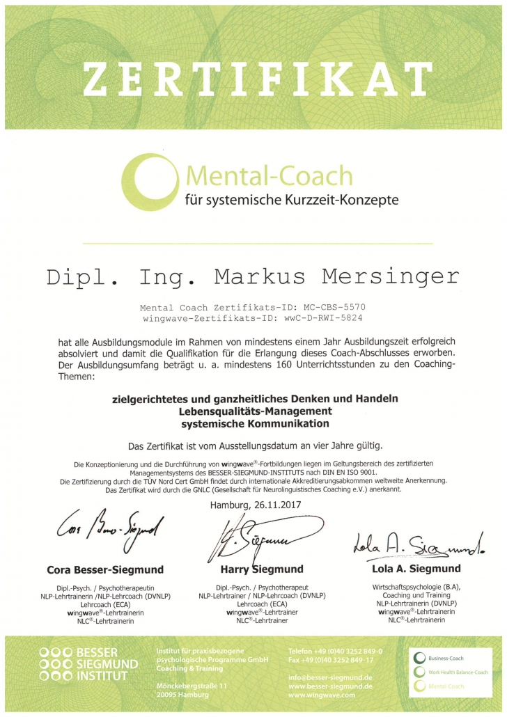 Mersinger Mental-Coach Zertifikat