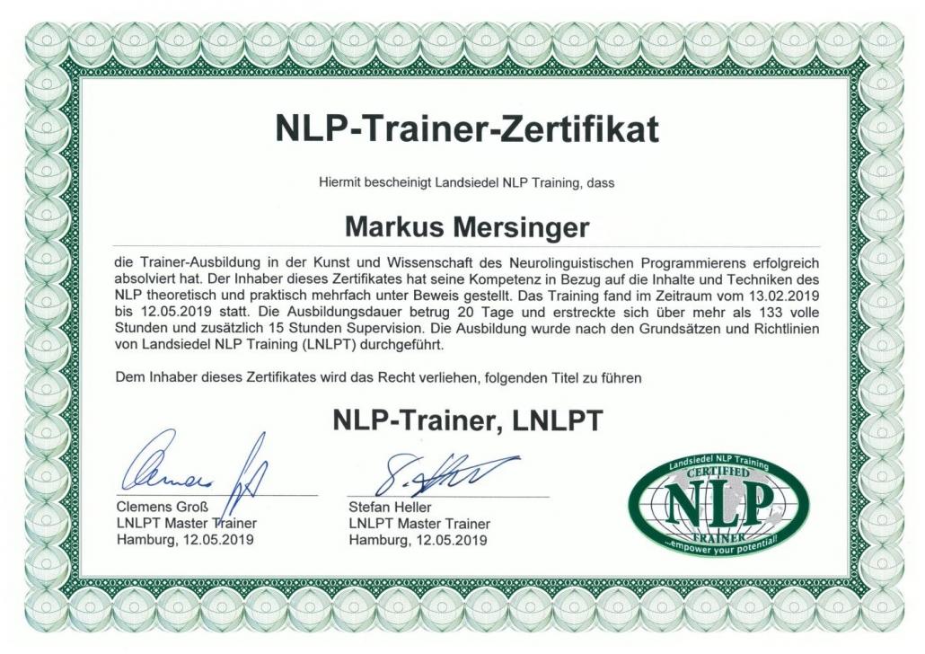 Mersinger NLP-Trainer Zertifikat