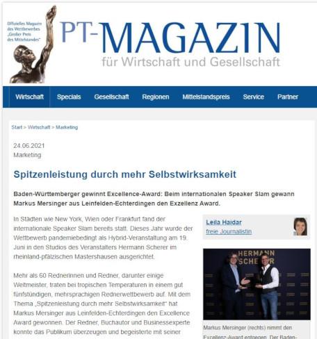 Markus Mersinger in PT Magazin